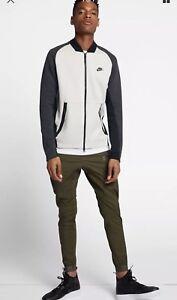 c50f22844e01 886617-091) Nike Tech Fleece Varsity Jacket Mens Light Bone Black ...