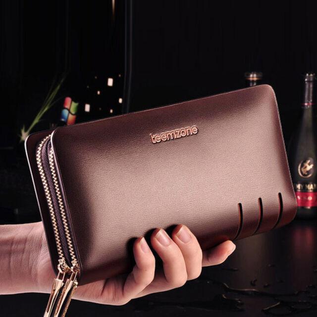 Mens Real Leather Business Clutch Wrist Handbag Organizer Briefcase Wallet Purse