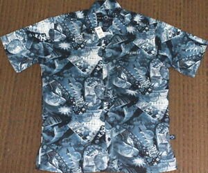 Hard-Rock-Cafe-KEY-WEST-2000s-Printed-CAMP-Blue-SHIRT-Mens-Size-SMALL-24-034-x-18-034