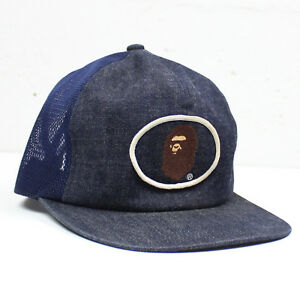 Vintage Bape A Bathing Ape Logo Denim Trucker Snapback Hat Cap BBC ... 955925c81