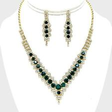 Emerald Green Gold Clear Crystal Rhinestone Formal Bridal Wedding Necklace Set