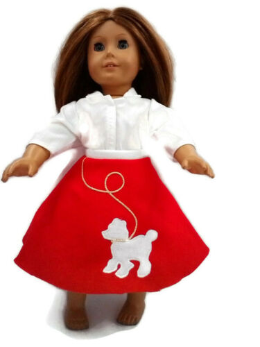 Red /& White Poodle Skirt Doll Clothes Fit American Girl Dolls