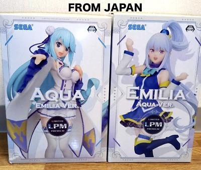 ZERO x Konosuba Limited Premium Figure Aqua x Emilia set 22cm 2019 SEGA Re