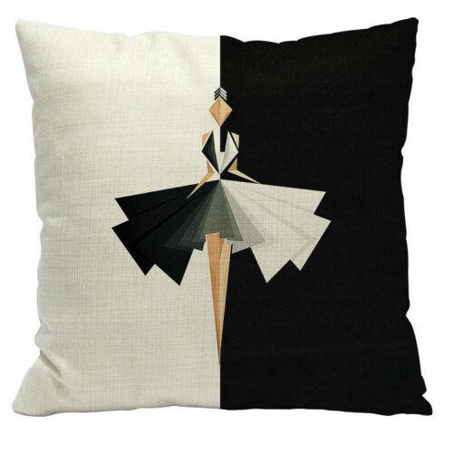 Color Geometric Letter Cotton Linen Pillow Case Waist Cushion Cover Home Decor