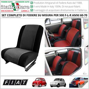 FODERE SU MISURA FIAT 500 F-L-R Anni70 Coprisedili Foderine COMPLETE GrigioNero