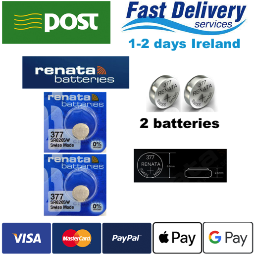 RENATA Battery 377 SR626SW SR626 AG4 1.55V Silver Oxide 2pcs
