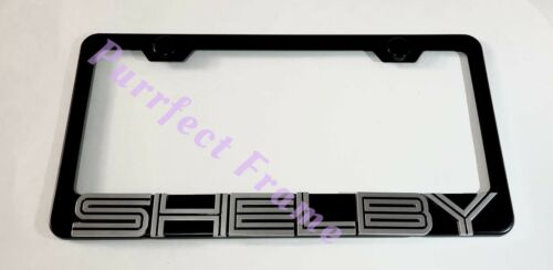 Ford Mustang Shelby 3D Emblem Black Stainless Steel License Plate Frame W// Caps