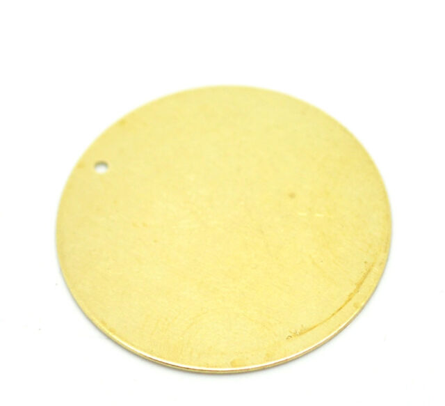 "30PCs Brass Blank Stamping Tags Round Pendants 28mm(1-1/8"")"