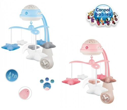 Baby mobile carousel with projector music box pilot 25 melodies Canpol pink blue