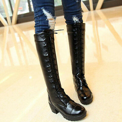 Ladies Womens Knee High Boots Chunky Platform Goth Combat Lace Up Grip Sole Size
