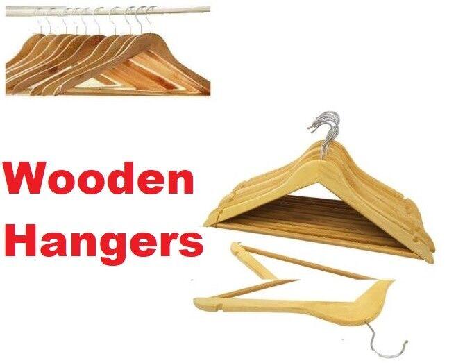 30 x Wooden Hangers Quality Wood Coat Hanger Clothes Clothes Clothes Garment Suit Shirt Trouser 3139df