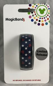 Disney-Parks-Mouse-Icon-Americana-USA-Red-White-Blue-Stars-Magic-Band-2-WDW-NEW