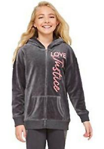 NWT-JUSTICE-Girls-Velour-Full-Zip-Hoodie-Jacket-Grey-Pink-Sparkly-SELECT-SIZE
