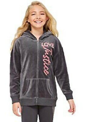 NWT JUSTICE Girls Velour Full Zip Hoodie Jacket Grey//Pink Sparkly SELECT SIZE
