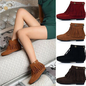 Boho-Flat-Fringed-Faux-Suede-Ankle-Boots-Booties-Oxfords-Moccasin-Brown-Size