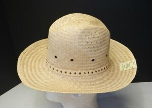 a32f77801 Details about Swisona Process Men's Fedora Woven Palm Straw hat Union Made  6 7/8 Azona