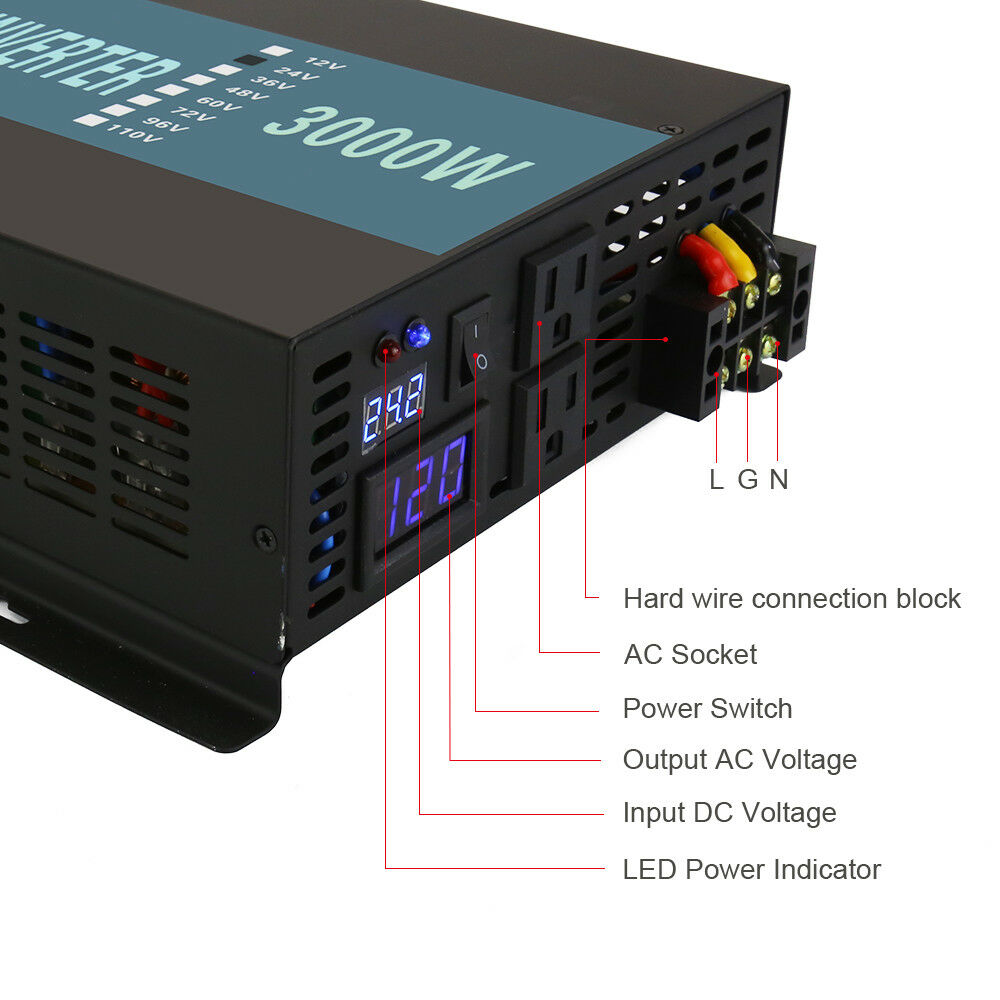 3000 Watt Car Power Inverter 12 24 Volt Dc To 120 220 Ac Pure How Build 110 And 220v Led Voltage Indicator Norton Secured Powered By Verisign