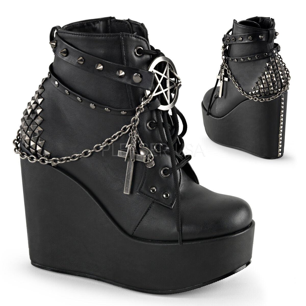 Demonia botas botas botas al Tobillo Negro Plataforma De Cuña de 5  con encantos Pentagrama 6 7 8 9 10 11 815d64