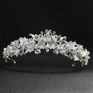 Image is loading Crystal-Tiara-Bridal-Rhinestone-Pageants-Queen-Crown- Headband- 88d710172e50