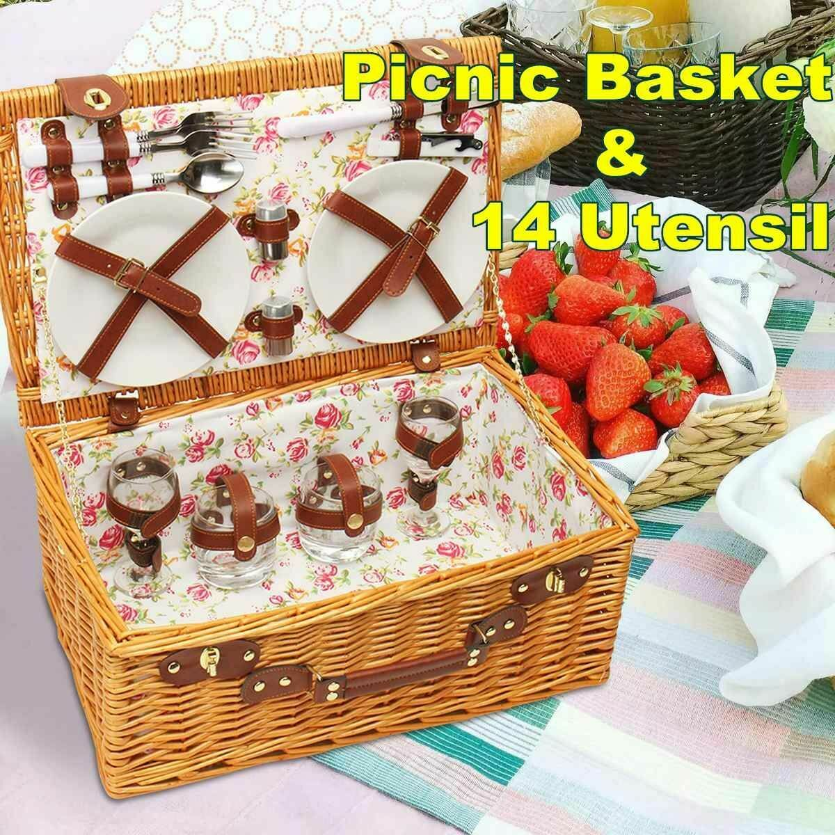 Picnic Basket Set Wicker Basket Camping Outdoor Willow Basket Set for 4 Persons