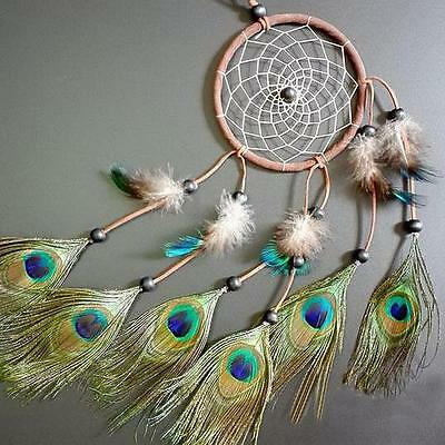 "Dream Catcher peacock feather wall hanging decoration ornament-22"" Long"