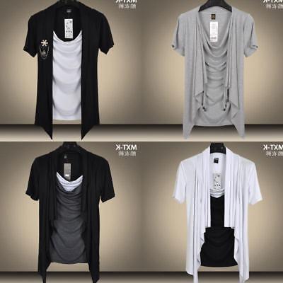 New Mens Slim Fit Short Sleeve T-shirt Korean Crew Neck Casual T-shirts Fashion