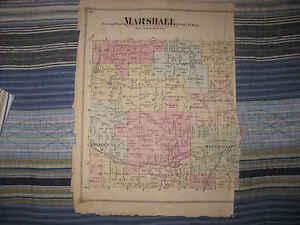 ANTIQUE 1873 MARSHALL TOWNSHIP CALHOUN COUNTY MICHIGAN HANDCOLORED MAP RARE NR