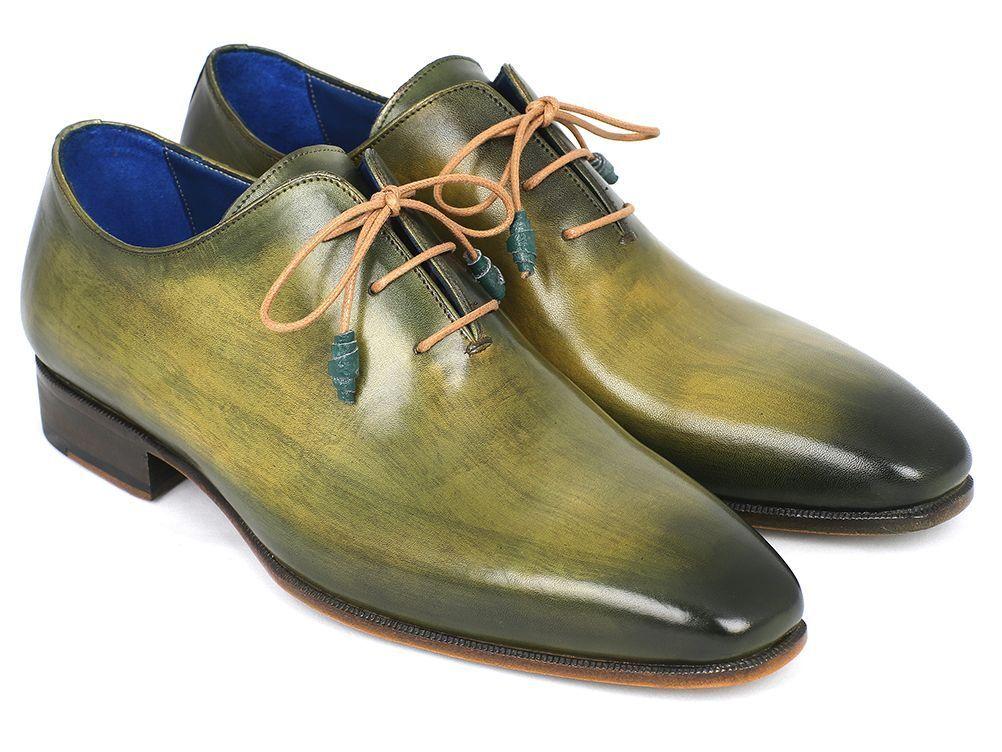 Paul Parkman Wholecut  PlainToe Oxfords Green Hand Painted Leather shoes for Man