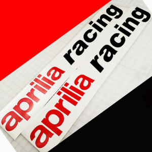 Aprilia Racing decals 7 inches 17.8cm long stickers red black motorcycle fairing