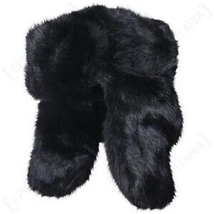 Russian Style Rabbit Fur Ushanka - Black Winter Cossack Ski Hat Cold ... 2b02d3765bdf