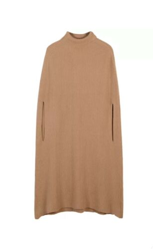 Wool Blend Rib Knit Turtleneck Brown Poncho Jumper Dress