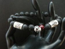 Black Lava Skull Bracelet Blood Stone Silver Plated Tribal Band Baby Chrome King