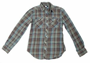 BDG Mens Size XS Blue Green Brown Plaid Button Up Shirt