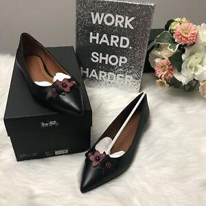 NIB-Authentic-225-COACH-FLORAL-APPLIQUE-Black-Leather-Pointed-Toe-Flats-8-5