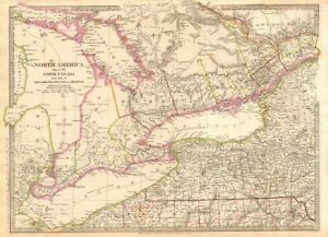 Details about GREAT LAKES.Upper Canada districts <1849.Lake Huron Erie  Ontario.SDUK 1844 map