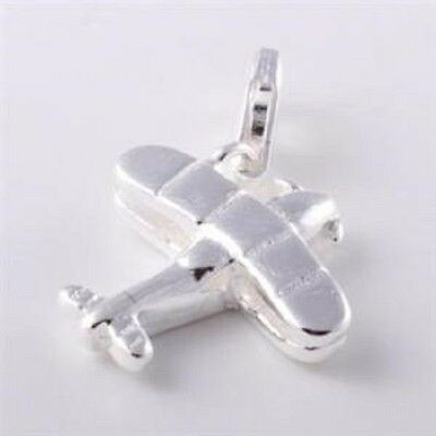 925  SILVER AEROPLANE CLIP ON CHARM FOR BRACELETS  -NEW
