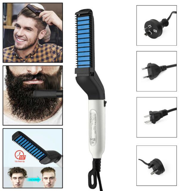 Multifunctional Hair Straightener For Men Curling Electric Brush Beard Comb New