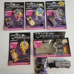 Transformers Lot of (5) G1 Stunticons MENASOR SET W/ CARDS, LOOSE MOC, MIB