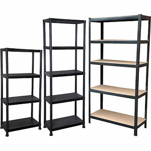 industrial 4 5 tier plastic metal heavy duty racking shelves storage unit garage ebay. Black Bedroom Furniture Sets. Home Design Ideas