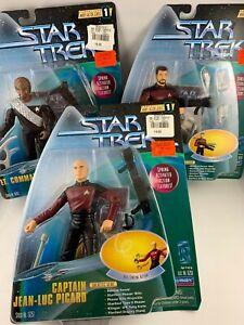 Playmates Star Trek lot of 3 Figure Warp Factor Series 1 Picard Riker Worf New