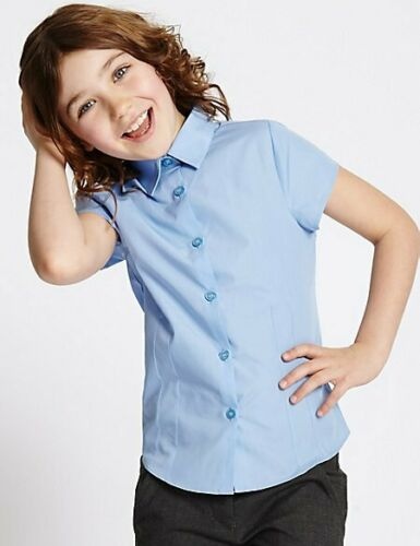 M/&S School 2 Pack Girls/' Easy to Iron Blouses NEW!!