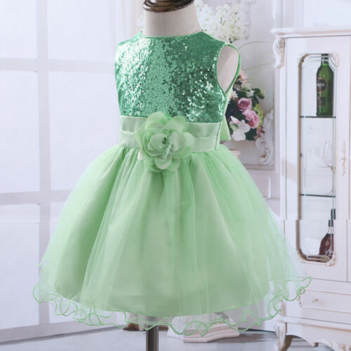 Flower Girl Kid Baby Sequins Princess Party Wedding Bridesmaid Formal Tutu Dress