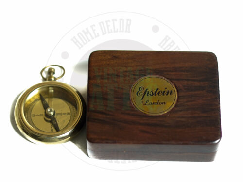 NEW COMPASS ANTIQUE BRASS MARITIME COMPASS WITH WOODEN CASE, SAILORS COMPASS