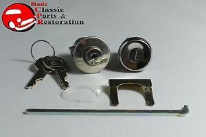 58-60-Fullsize-Chevy-Glove-Box-Trunk-Lock-Cylinder-Kit-Later-Round-Head-Keys-New