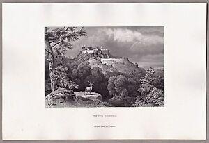 Veste-Coburg-Bayern-Franken-Grafik-Stich-Original-Stahlstich-1861