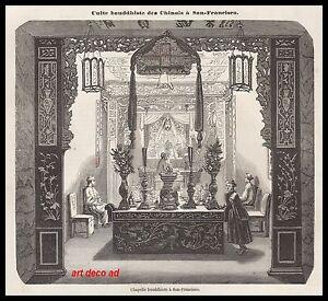 GRAVURE TEMPLE CHAPELLE BOUDDHISTE A SAN-FRANCISCO BOUDDHA 1856 - 1H - France - Langue: Franais - France
