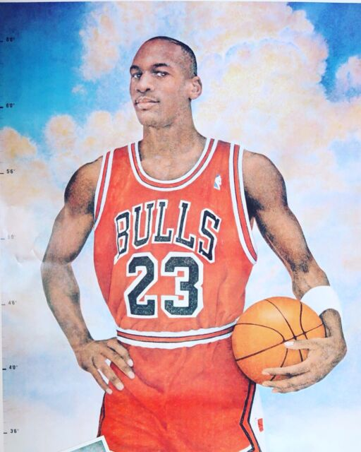 Vintage 90s NBA Michael Jordan 23 Chicago Bulls Life Size Measure-Up Poster Nike
