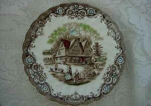 Collectible-JOHNSON-BROTHERS-Brown-Cottage-Scenic-Cup-Plate-Made-in-England
