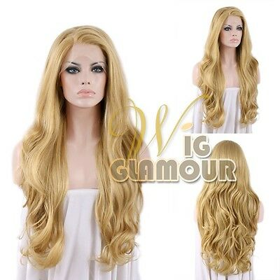 """Long Curly Wavy 26"""" Light Golden Brown Mixed Blonde Lace Front Wig"""