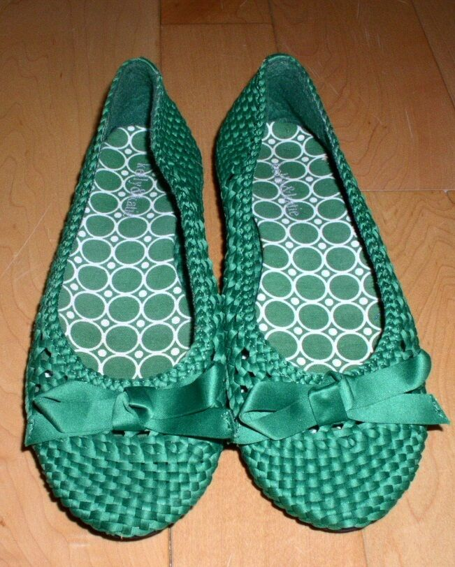 New Kelly & Katie Cute Green Fabric Flats Weave Me 5.5